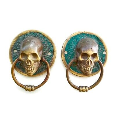 "2 SKULL ring pull head solid hollow BRASS vintage style day the dead 3"" 7.5 cm B"