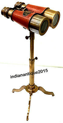 Nautical Antique Brass Telescope With Antique Brass Stand Collectible Desk Decor