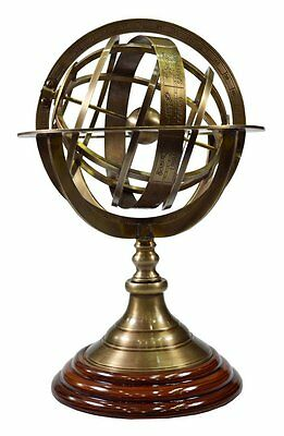 Nautical Antique Brass Armillary With Wooden Base Vintage World Sphere Globe 10""