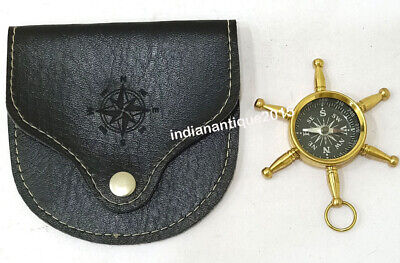 Nautical Compass Marine Locket Collectible With leather Case