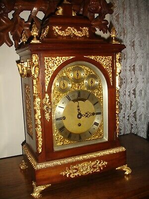19Th Century Triple Fusee Chain Drive  8 Bell Bracket Mantle Clock.utube Video--