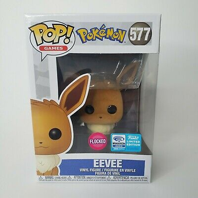 In Hand: Funko Pop Eevee Flocked #577 Pokemon *Wondercon Anaheim Sticker!*