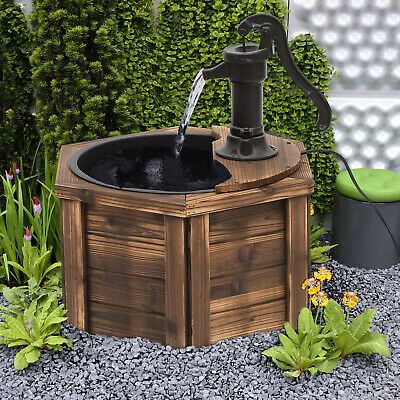 Outsunny WoodenElectric Water Fountain Garden Ornament w/Hand Pump Vintage Style