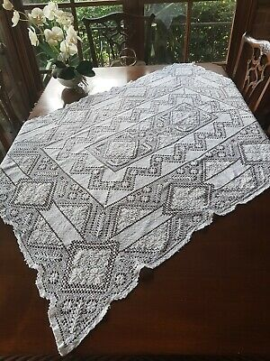 Antique Oblong Sardinia Genuine Modano Lacis Knotted Filet Lace Tablecloth 140cm