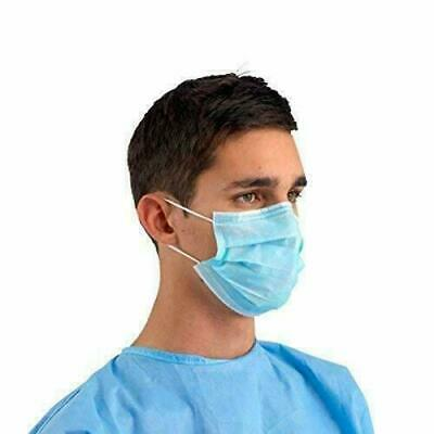 Blue Disposable Surgical Dust Flu Protector Face Masks Looped Ears 3 PLY