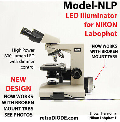 LED retrofit Kit with dimmer control for older NIKON Labophot-1 microscopes.