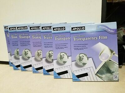 X7 Apollo Transparency Film for Laser Printers, Black on Clear, 50 Sheets/Pack