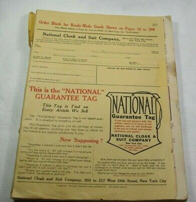 1912 National Cloak and Suit Company New York City Catalog With Order Blank