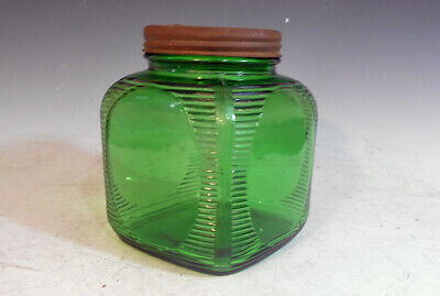 Antique Green Depression Glass Country Store Jar