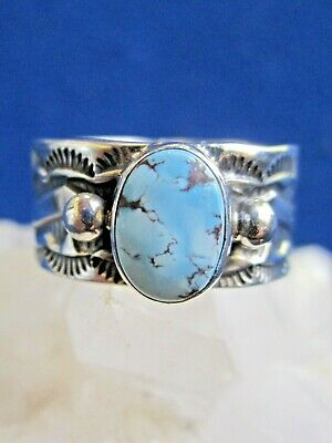 Native American Made Gold Hill Turquoise Ring  Navajo Artist Henry Mariano