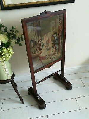 Rosewood Fire Screen Needlepoint Tapestry Turned support carved feet Antique