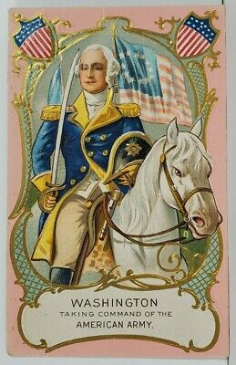George Washington Taking Command of the American Army Patriotic Postcard N4