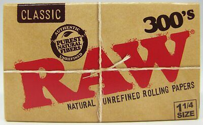 RAW 300's Classic 1 1/4 Natural Unrefined 1.25 Rolling Papers 300 Leaves  1 PACK