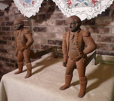 VIRGINIA METALCRAFTERS CAST IRON  George Washington ANDIRONS Fire Dogs