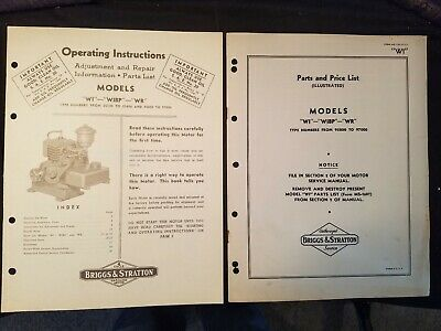 Briggs & Stratton Models WI, WIBP and WR Operating Instructions & Parts List