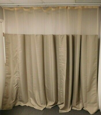 NEW Hospital Cubicle Curtain 146 in wide x 96 in tall Allegro Taupe w/ Mesh