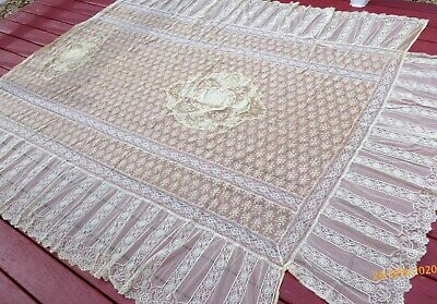 Vintage FRENCH NORMANDY Patchwork LACE Bedspread