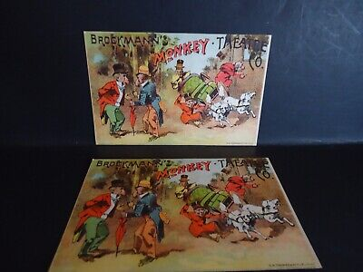 Vintage TWO  Brockmann's Monkey Theatre Co. Advertisement/Trade  Cards