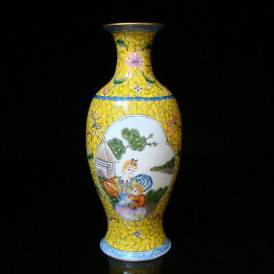 220mm Chinese Exquisite Handmade Drawn Copper Cloisonne Character Vase