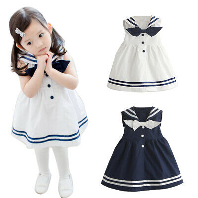 Summer Kids Girls White Sleeveles Cotton Dresses Childrens Pretty Party Clothes