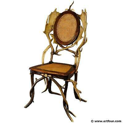 antique cabin decor antler parlor chair, germany ca. 1900