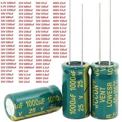 6.3V-450V High Frequency LOW ESR Radial Electrolytic Capacitor 1uF-22000uF 105°C