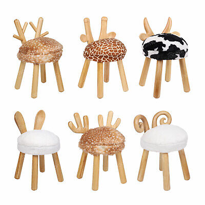 Animal Shape Stool Kids Children's Gift Wooden Round Padded Seat Chair Footstool