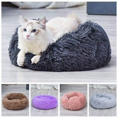 Pet Dog Cat Donut Calming Bed Soft Warm Plush Round Nest Comfy Kennel Cushion