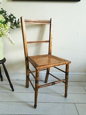 Edwardian Caned Chair Bedroom Hall Desk Antique Rattan Seat