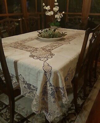 Vintage Ecru Italian Point De Venise Lace Tablecloth Needlelace Reticella 230cm