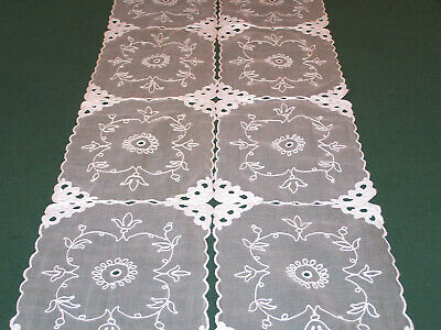 12 VINTAGE SWISS EMBROIDERED ORGANDY PLACEMATS, STORE STOCK, NEVER USED, c1930
