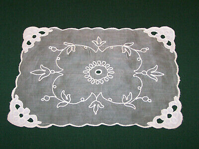 6 VINTAGE SWISS EMBROIDERED ORGANDY PLACEMATS, STORE STOCK, NEVER USED, c1930
