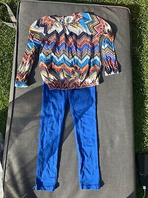Mim Pi Girls Blue Multi Coloured Patterned Outfit Set Age 8 Years / 128