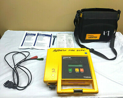 Lifepak 500 Biphasic Defibrillator AED with Case, Electrodes, Battery 9-13-20