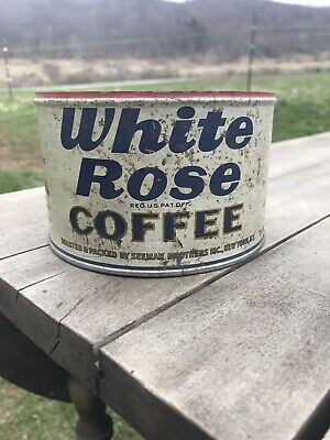White Rose Coffee Tin Red Top Can Vintage Advertising