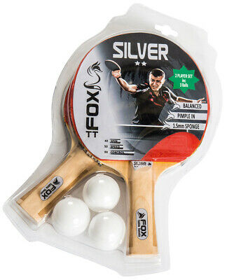 2 Player Table Tennis Bat Set - Fox Silver - With 3 Balls - Indoor Games