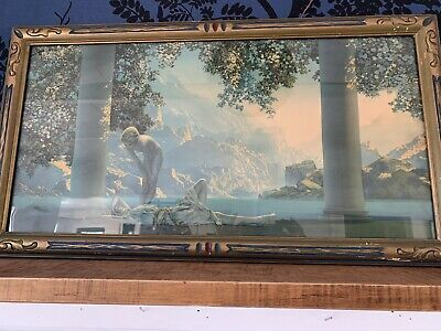 """Antique DAYBREAK Maxfield Parrish print.By """"House Of Arts N.Y."""" Framed 33x18"""""""