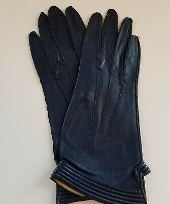 Ladies Navy Leather Driving Gloves Washable  6.5