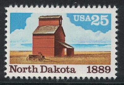Scott 2403- North Dakota Statehood, Grain Elevator- MNH 25c 1989- unused mint