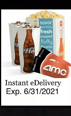 2 AMC Theaters Black MOVIE TICKETS, 2 Large Drinks, 1 Large POPCORN  Exp 6/2021