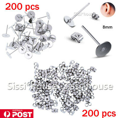 400X Earring Stud Posts 8mm Pads And backs Hypoallergenic Surgical Steel AU