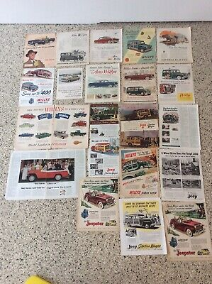 Vintage Willys Jeep Magazine Ad Huge Lot ORIGINAL RARE advertising