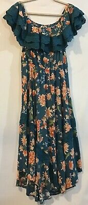 JAASE XL Teal Blue Coral Floral Ruffle Crochet Elastic Long Full Dress