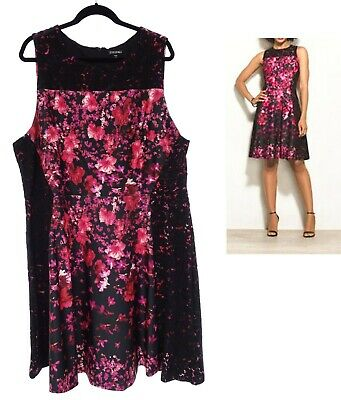 24W 3X SEXY Womens FLORAL/LACE SCUBA FIT & FLARE DRESS Summer Wedding PLUS SIZE