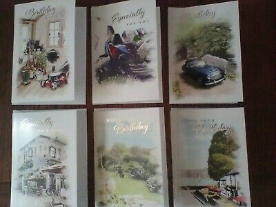 A selection of 6 Male Birthday Cards.7x5ins Quality card.Includes envelopes.