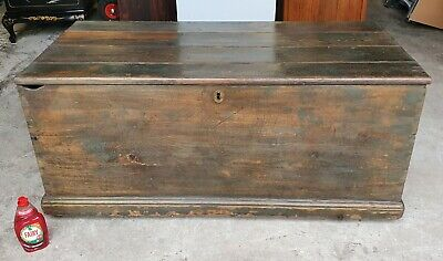 Huge Victorian Antique Rustic Shabby Chic Pine Chest / Trunk  Delivery Available