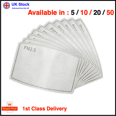 Face Mask Filter Replacement PM2.5 Adults 5 Activated Carbon Layer *UK SELLER*