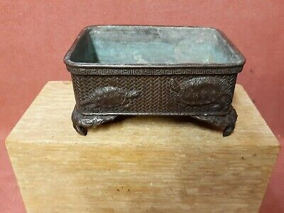 Antique Japanese Planter Signed with Turtles Meiji Period