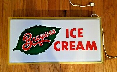 Vintage Breyers Ice Cream Light Sign General Store Candy Shop Works Great