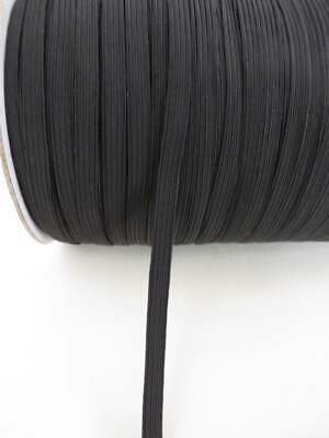 Elastic 8 cord 6mm Strong braided stretch Black elastic for face mask U.K. STOCK